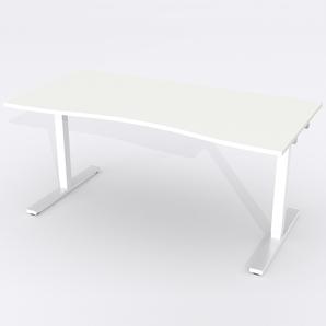 Skrivbord Ursågad Elektrisk 164x82 cm Laminat Vit